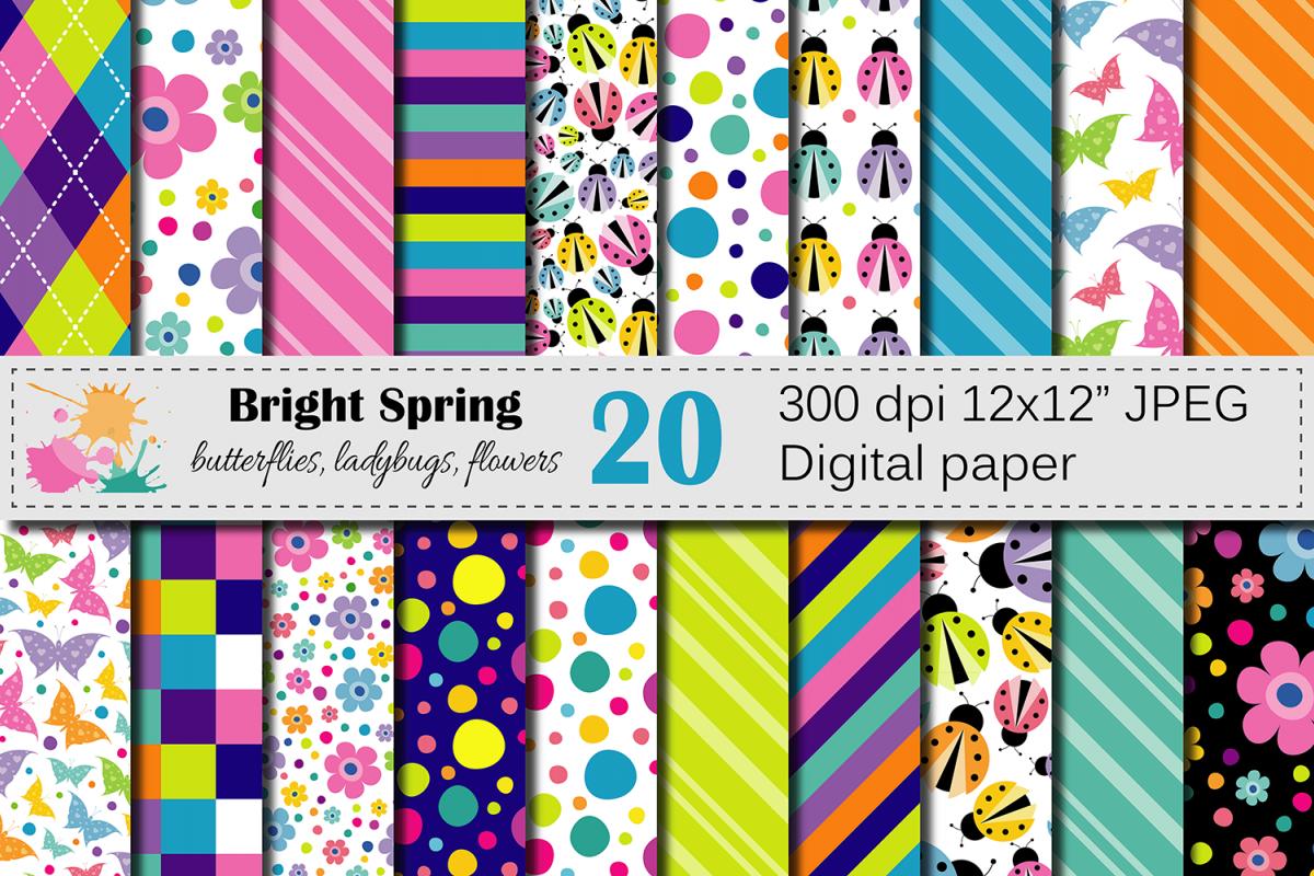 Bright Spring Digital Paper With Butter Design Bundles