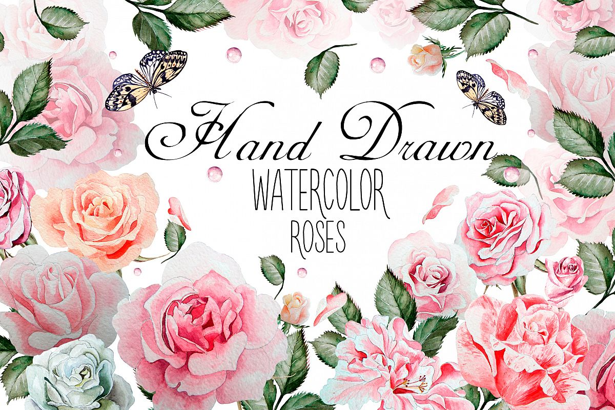 Hand drawn watercolor roses 2 example image