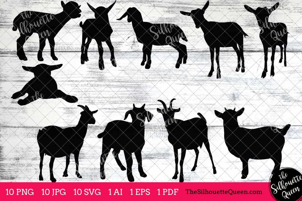 Goat Silhouettes Clipart Clip Art AI EPS SVGs JPGs PNGs