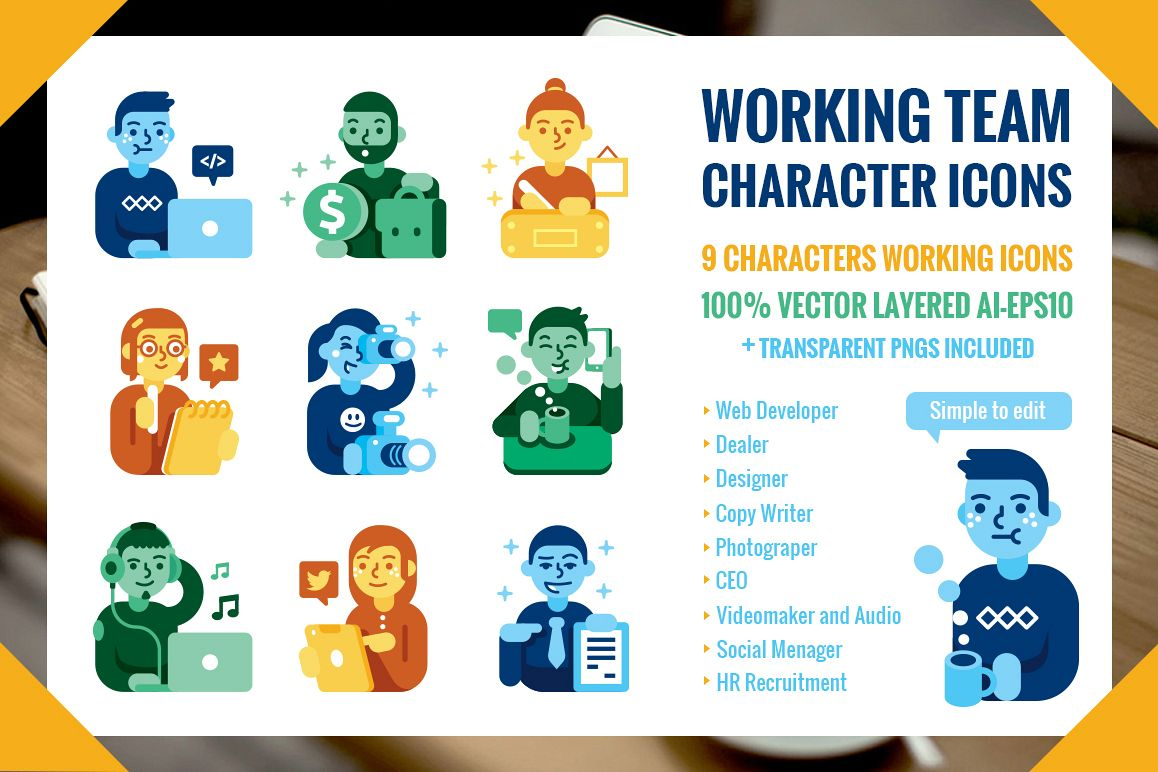 Working Team 9 Characters Icons by Manu Design Bundles