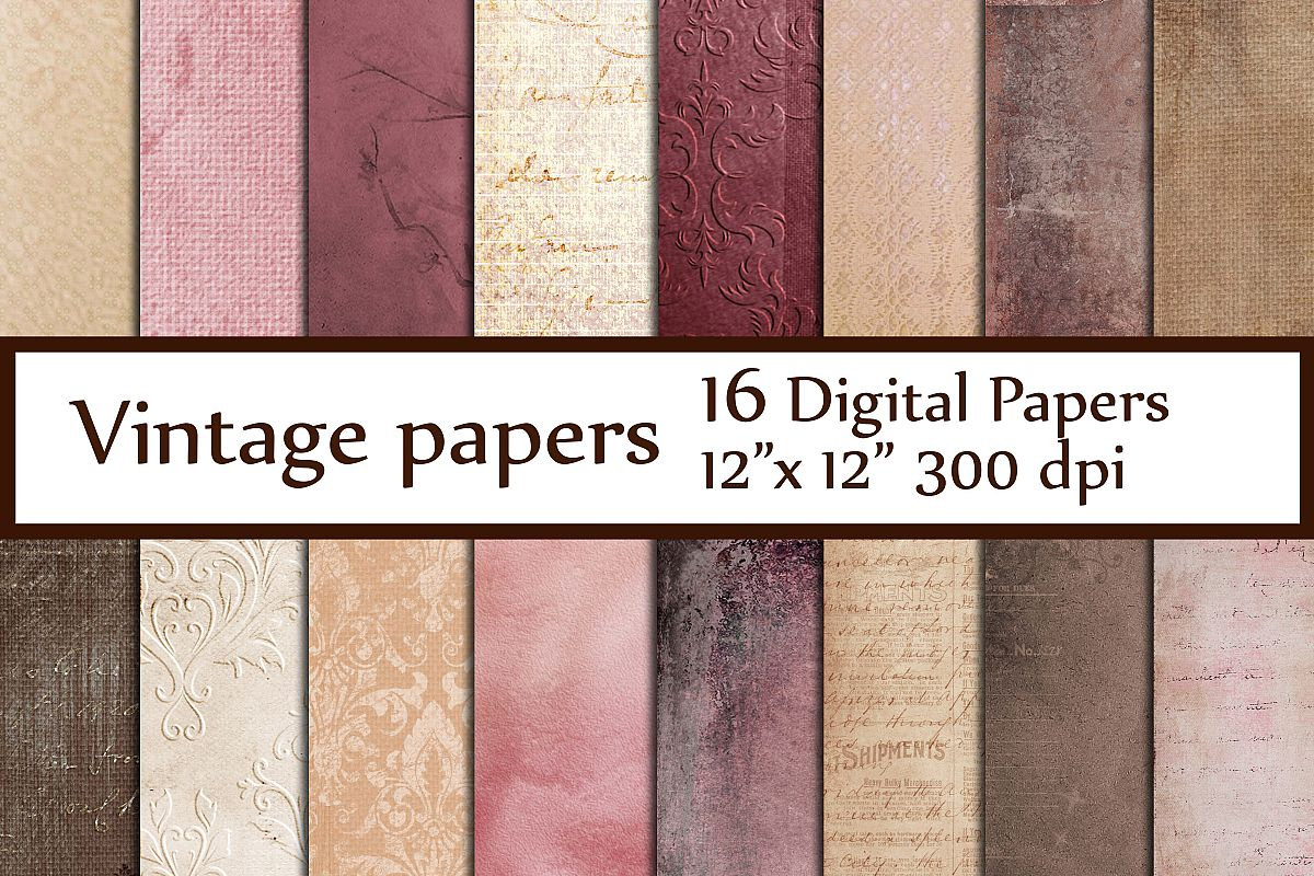 Shabby chic digital papers example image