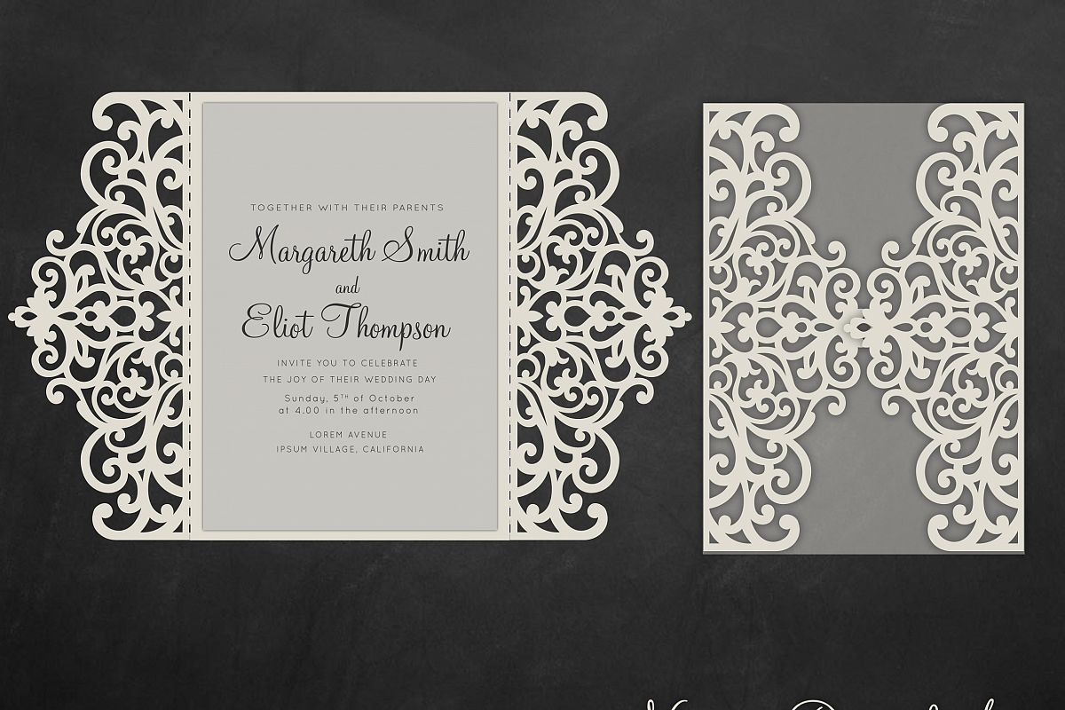 Gate fold wedding invitation , 5x7, Cri | Design Bundles
