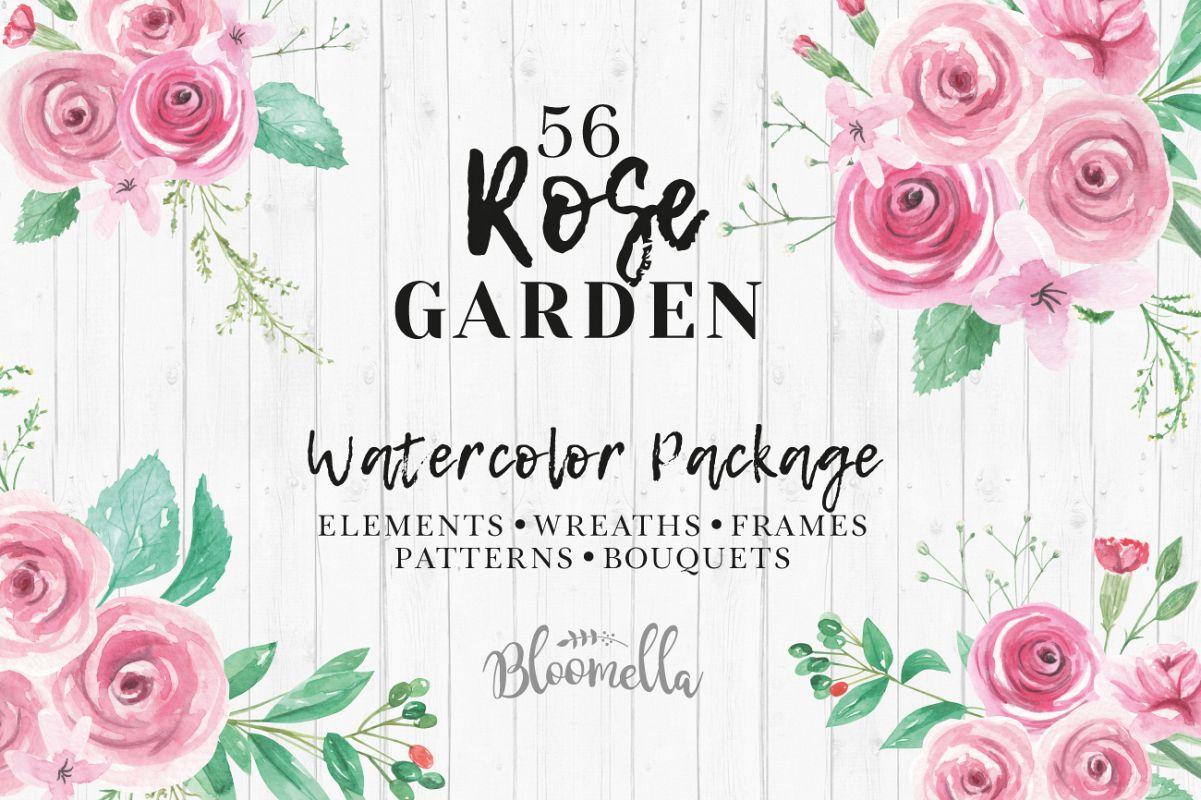 Rose Garden Watercolor Flower Pink Clip | Design Bundles