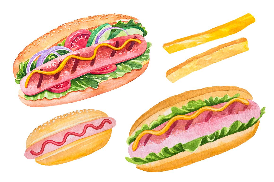 Fast Food Watercolor Set example image 2