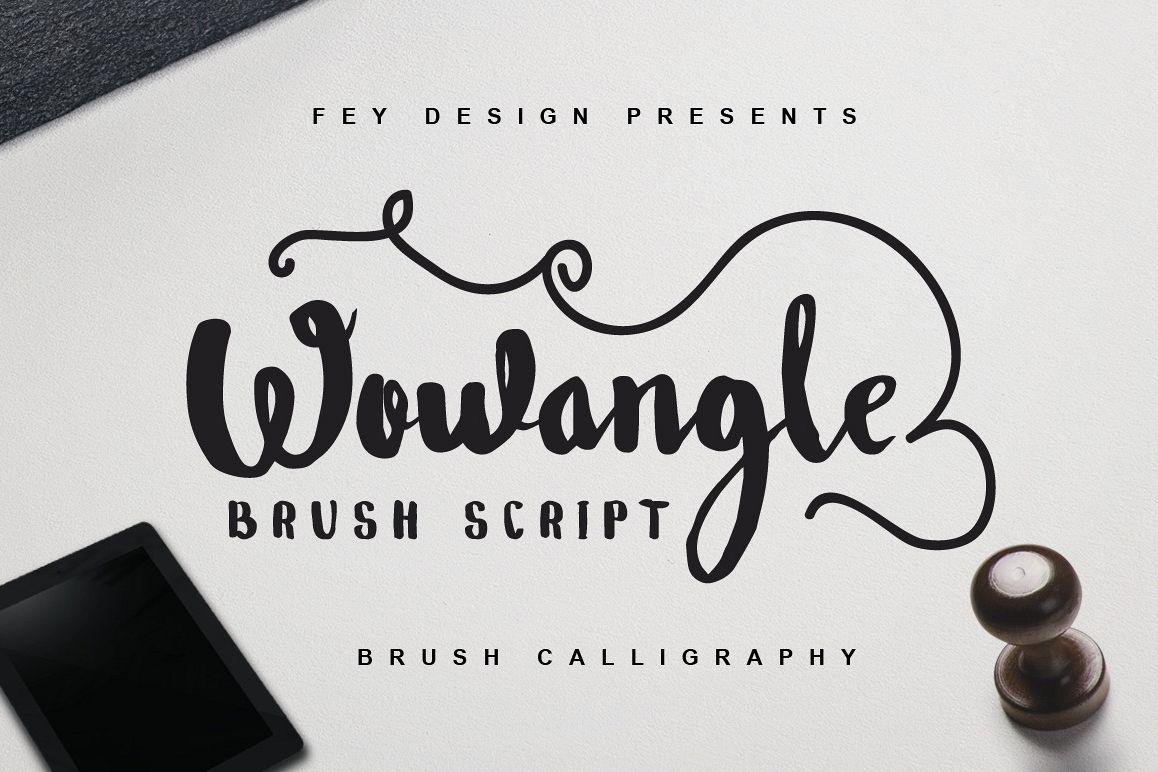 Wowangle brush script bonus font by f font bundles