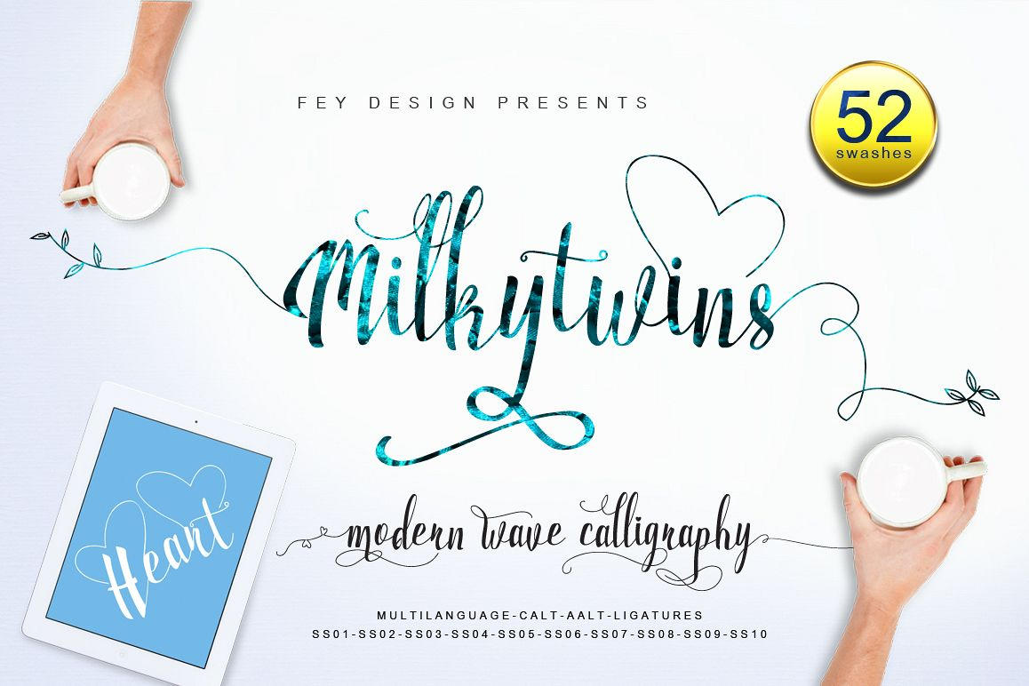 Milkytwins Modern Wave Calligraphy example image