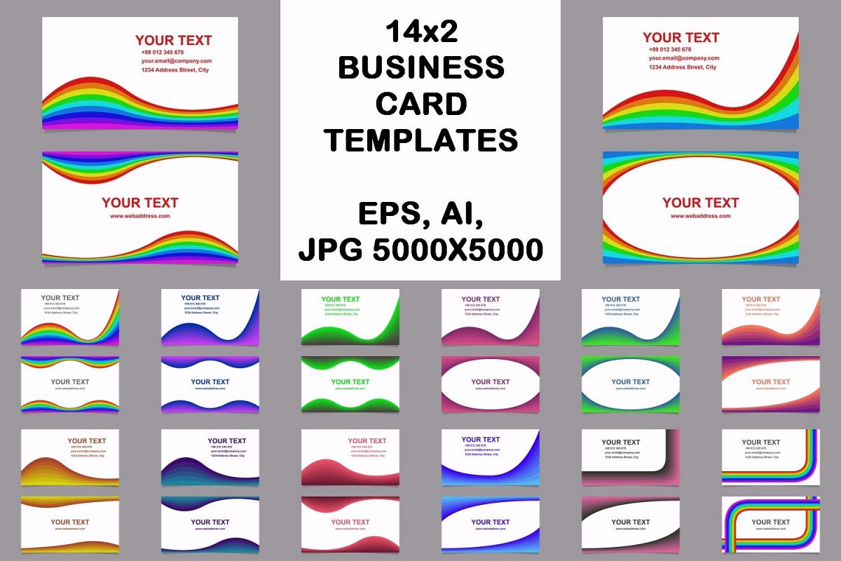 14x2 curved design business card templates (EPS, AI, JPG 5000x5000) example image