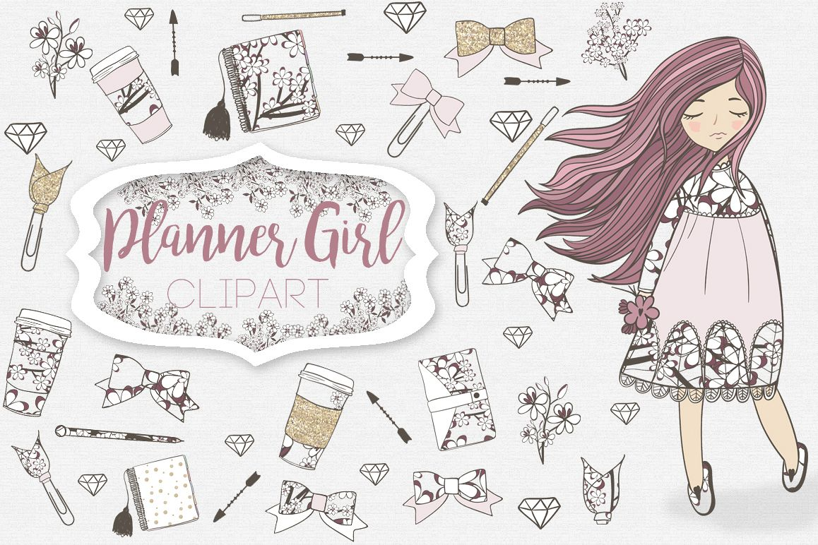 Planner Girl Clipart example image