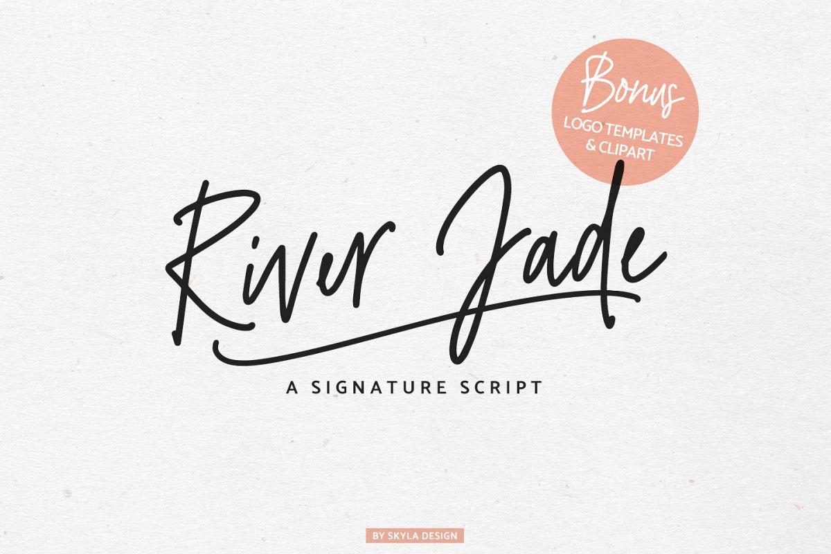 River Jade Signature Font Script Logos Bonus Clipart Example Image