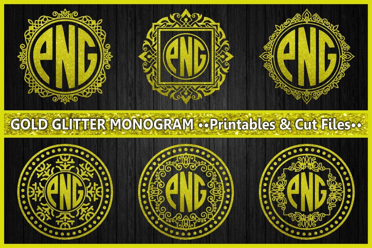 monogram gold glitter, cut files, gold glitter, ornament, monogram letters, digital prints, scrapbooking, glitter example image