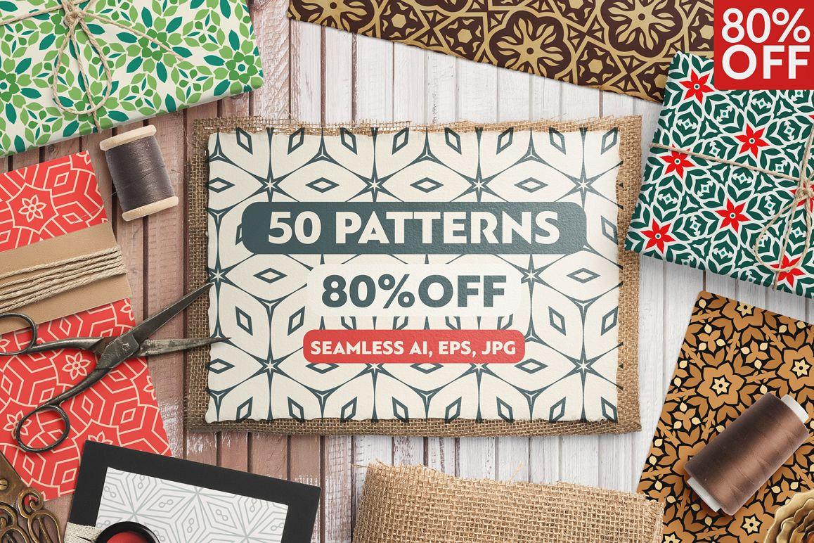 50 Floral Seamless Patterns 80% OFF example image