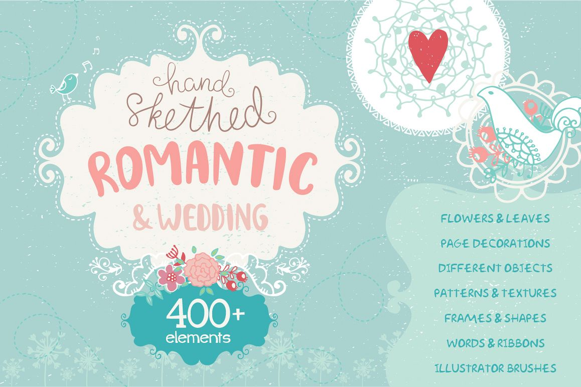 Romantic & Wedding Hand Drawn Set example image