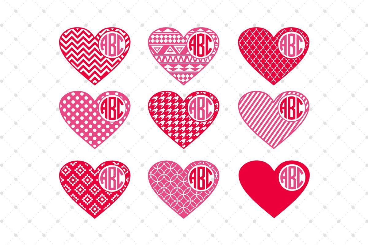 Valentines Day Hearts Monogram Frames S   Design Bundles