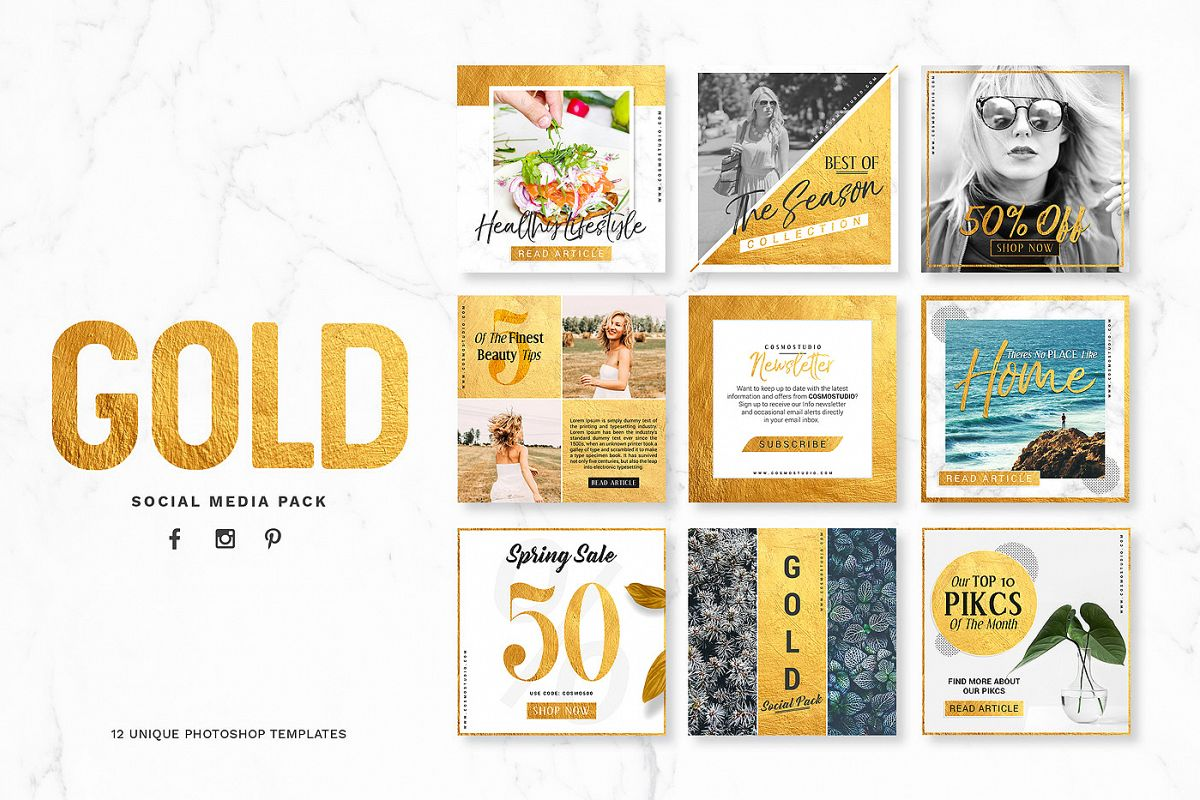 GOLD Social Media Pack example image
