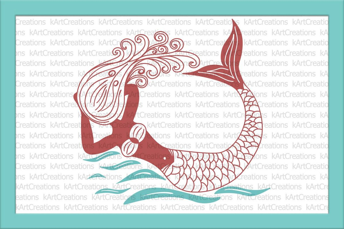 Hand drown swiming in the ocean mermaid  SVG Cutting file example image
