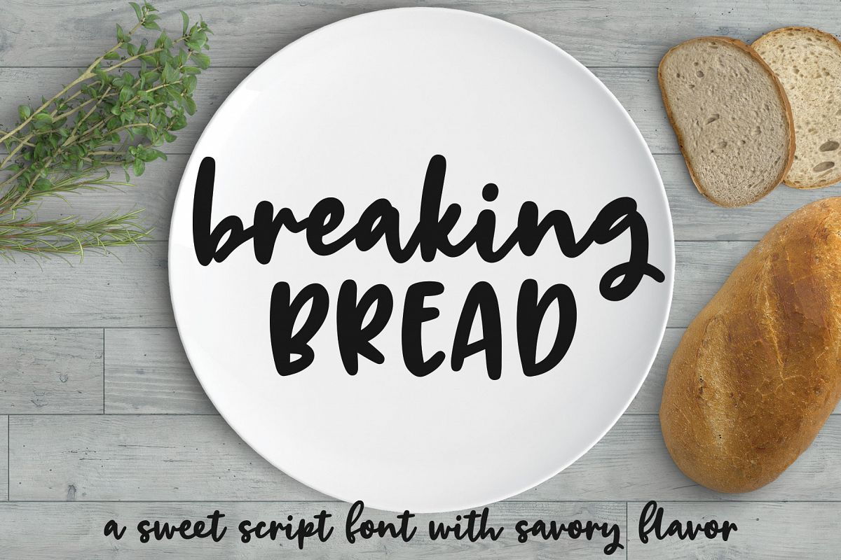 Breaking Bread: a chunky script font! example image