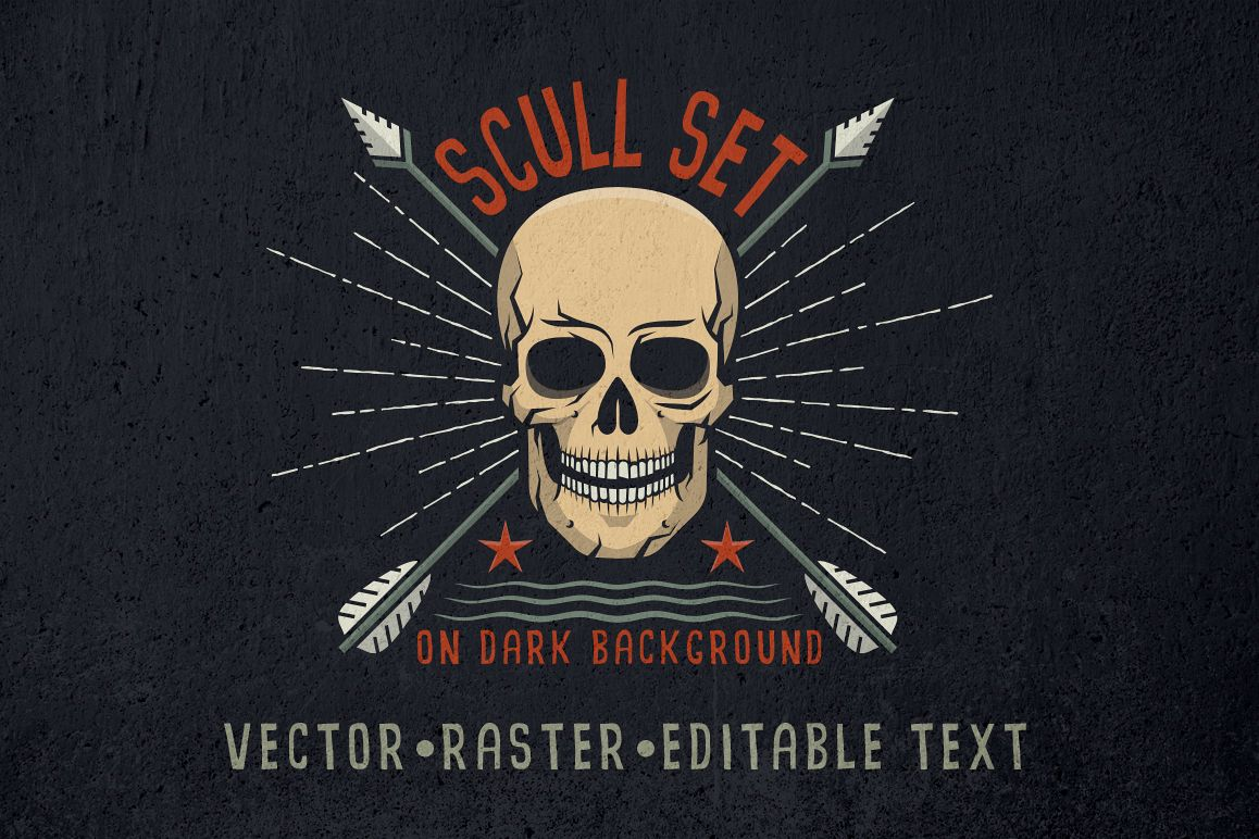 Skull logo set on dark example image