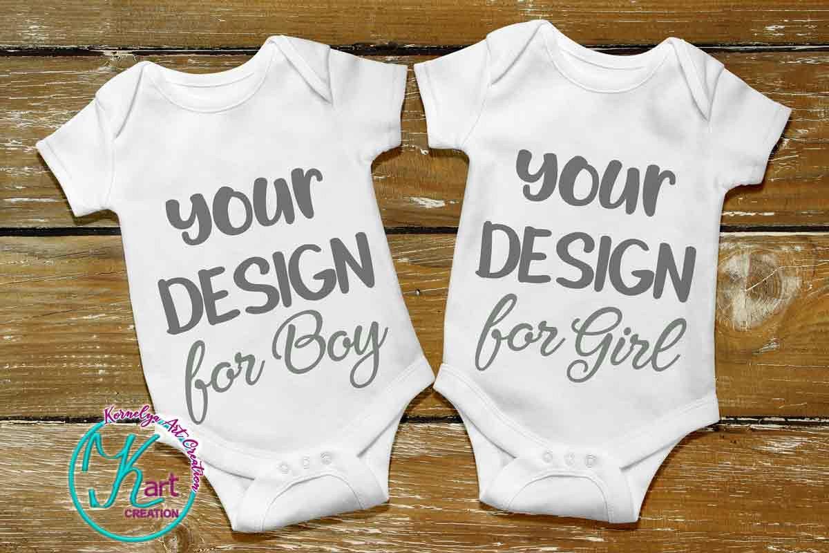 Blank White Baby Mockup, White Baby Bodysuit mock up, Baby Mock up - Flat, Top View, Wood Background, two white baby onesie mockups, JPEG example image