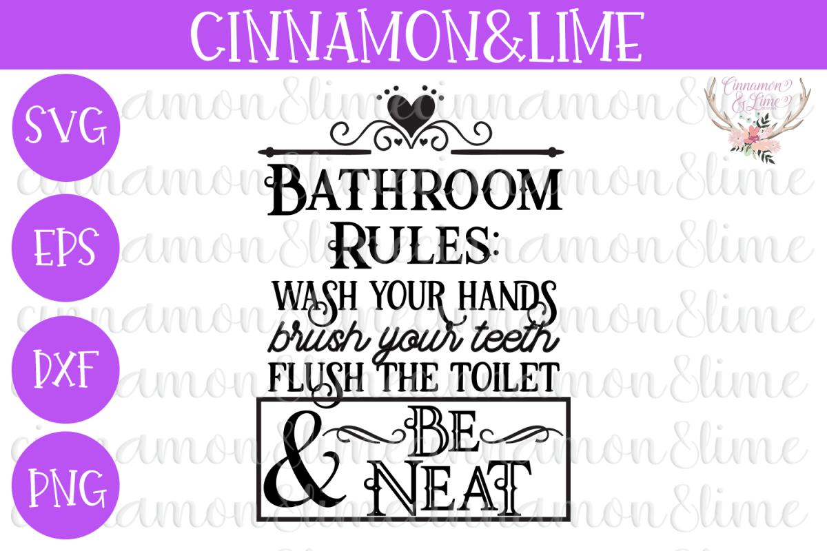 Bathroom Rules Sign SVG DXF PNG Cut File example image