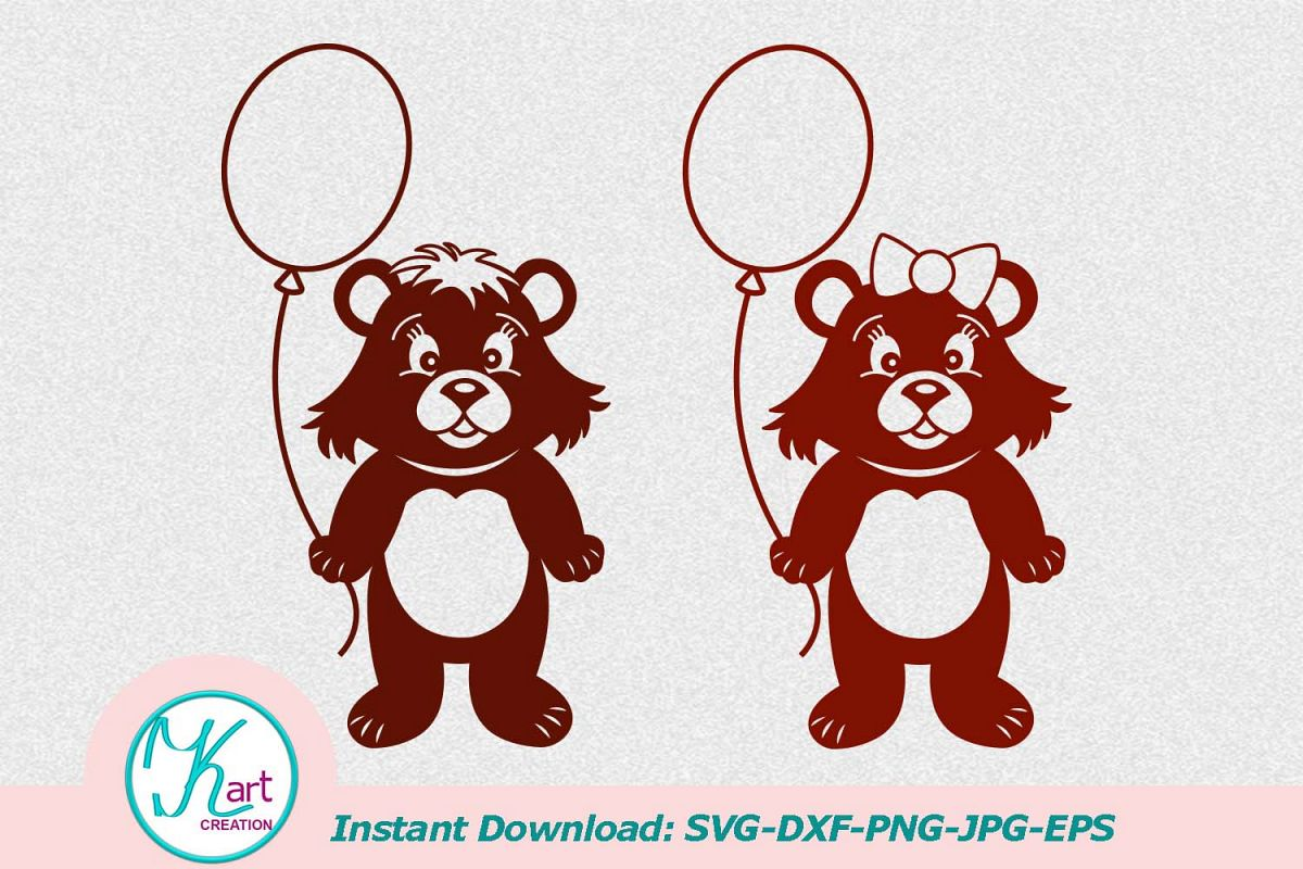 bear with balloon, svg file, papercut, | Design Bundles