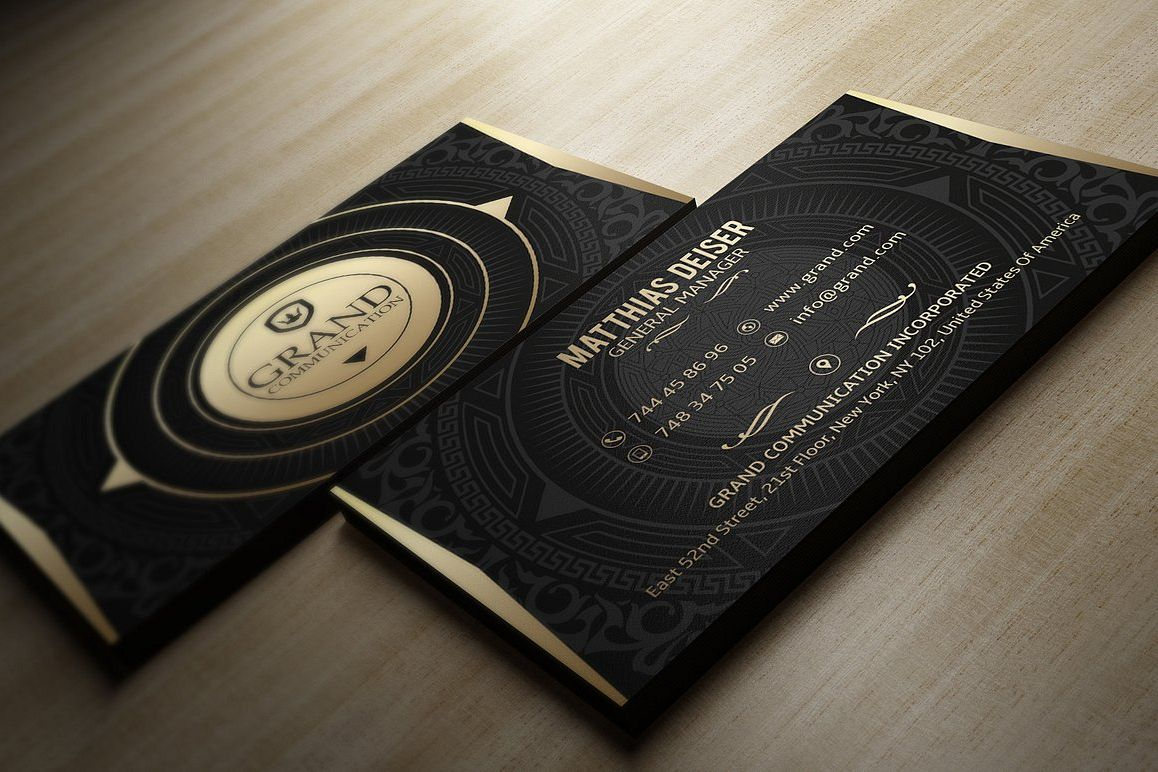 Gold And Black Business Card by Marvel | Design Bundles
