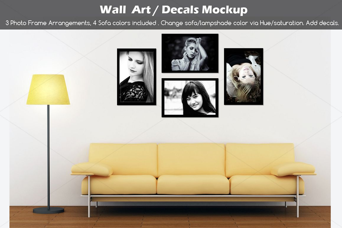 Wall art / decals / poster Mockup v2 by | Design Bundles