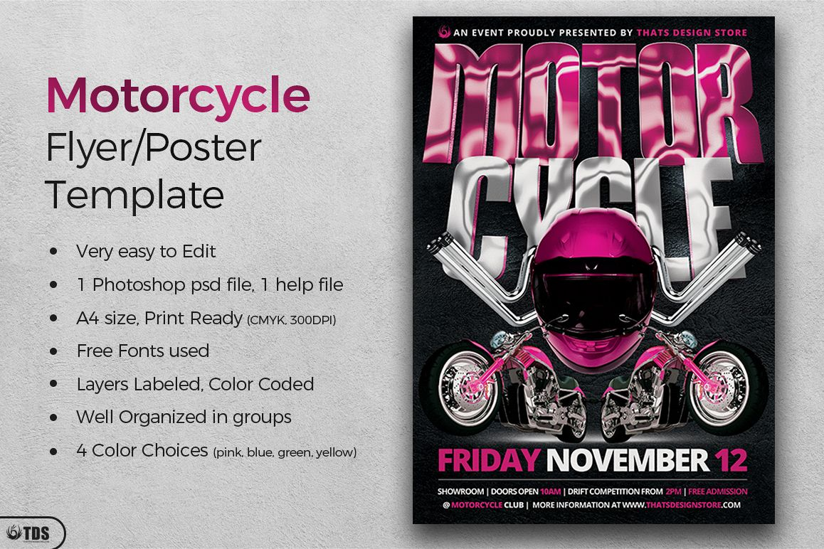 Motorcycle Flyer Template by TDStore | Design Bundles