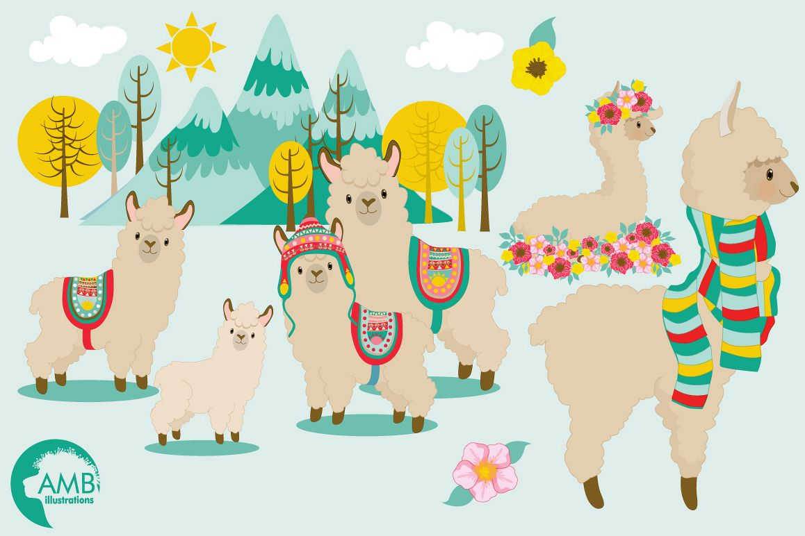 llama fun clipart graphics illustrati design bundles rh designbundles net clipart lama llama clipart outline