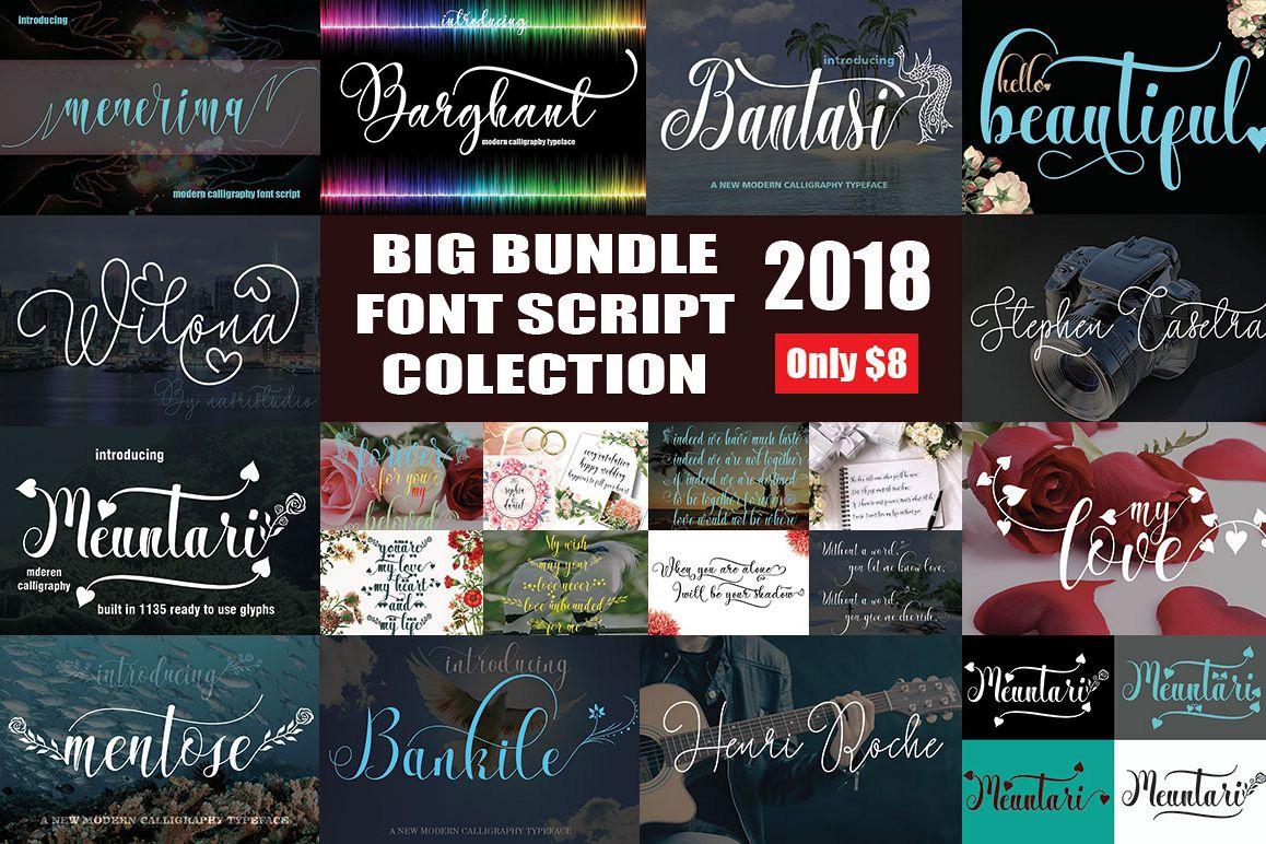 BIG BUNDLE FONT SCRIPT COLECTION example image