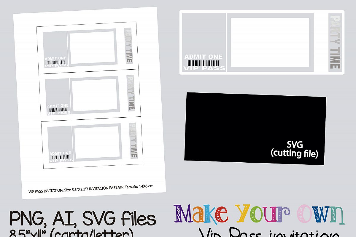 Relatively Vip pass invitation template, collage s | Design Bundles XN91