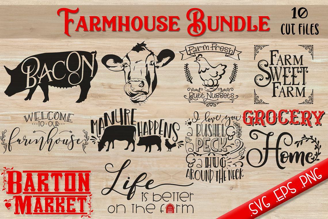 Farmhouse Bundle {10 Cut Files} SVG / EPS / PNG example image