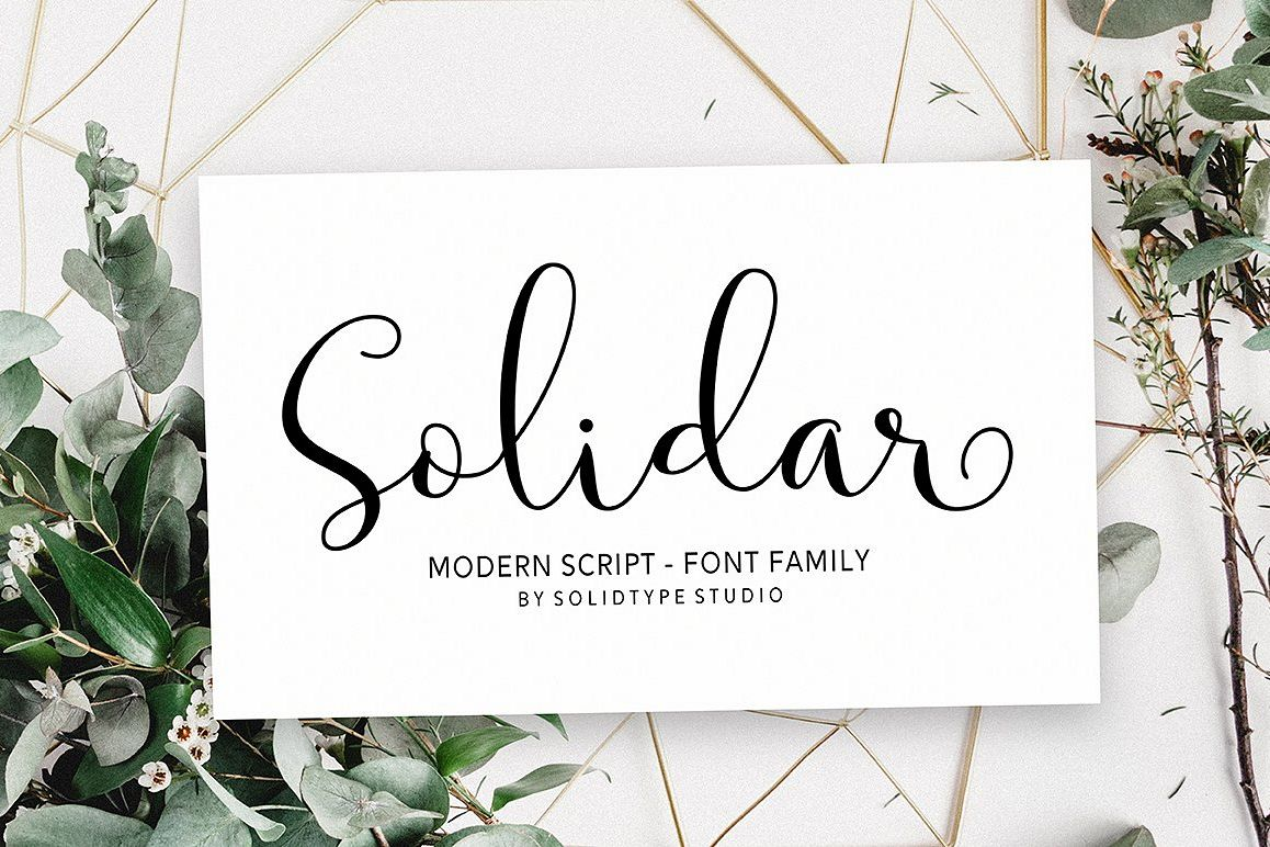 Solidar font family by solidtype font bundles