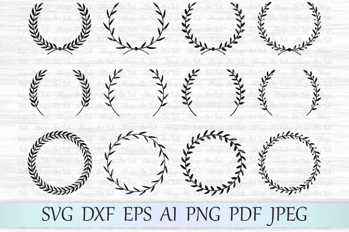 Laurel svg file, Laurel wreath svg, Wed | Design Bundles