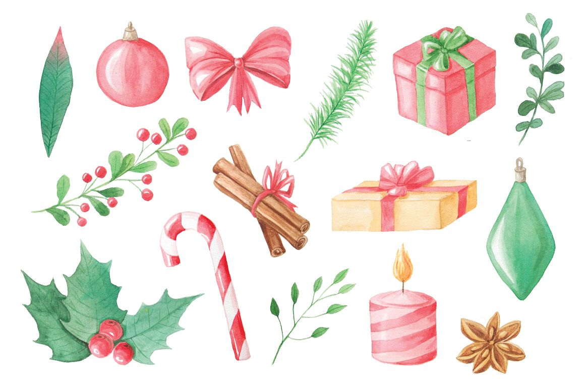 Watercolor Christmas Collection example image 3