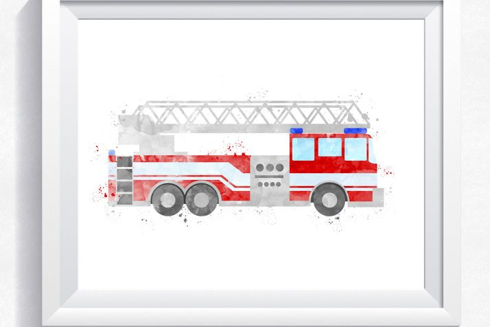 Watercolor Fire Truck, Fire Engine Printable, Fire Truck Wall Art, Rescue  Truck Print