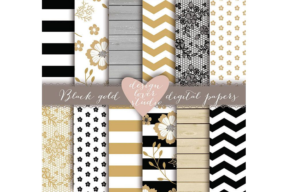 Rustic stripes gold black digital paper example image