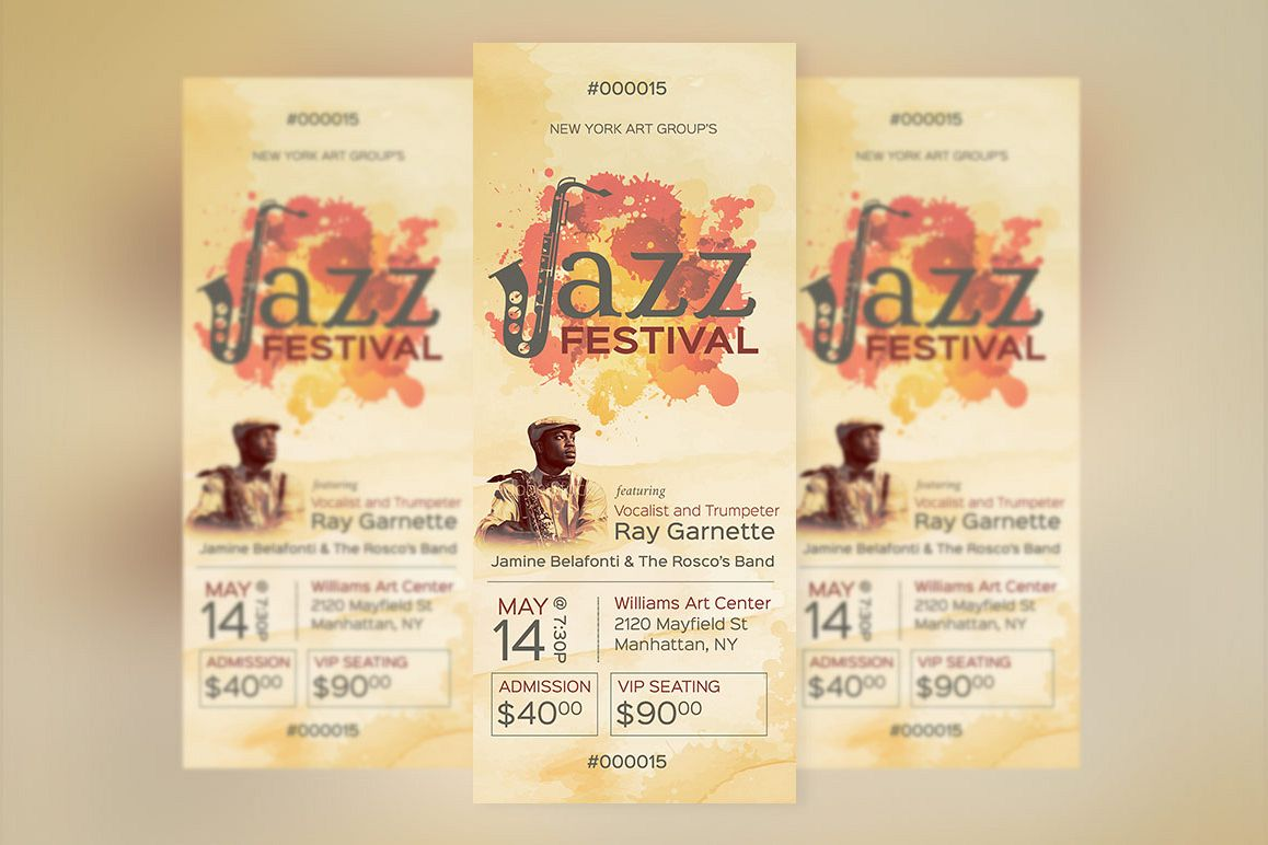 Jazz Event Ticket Template by Godserv D | Design Bundles