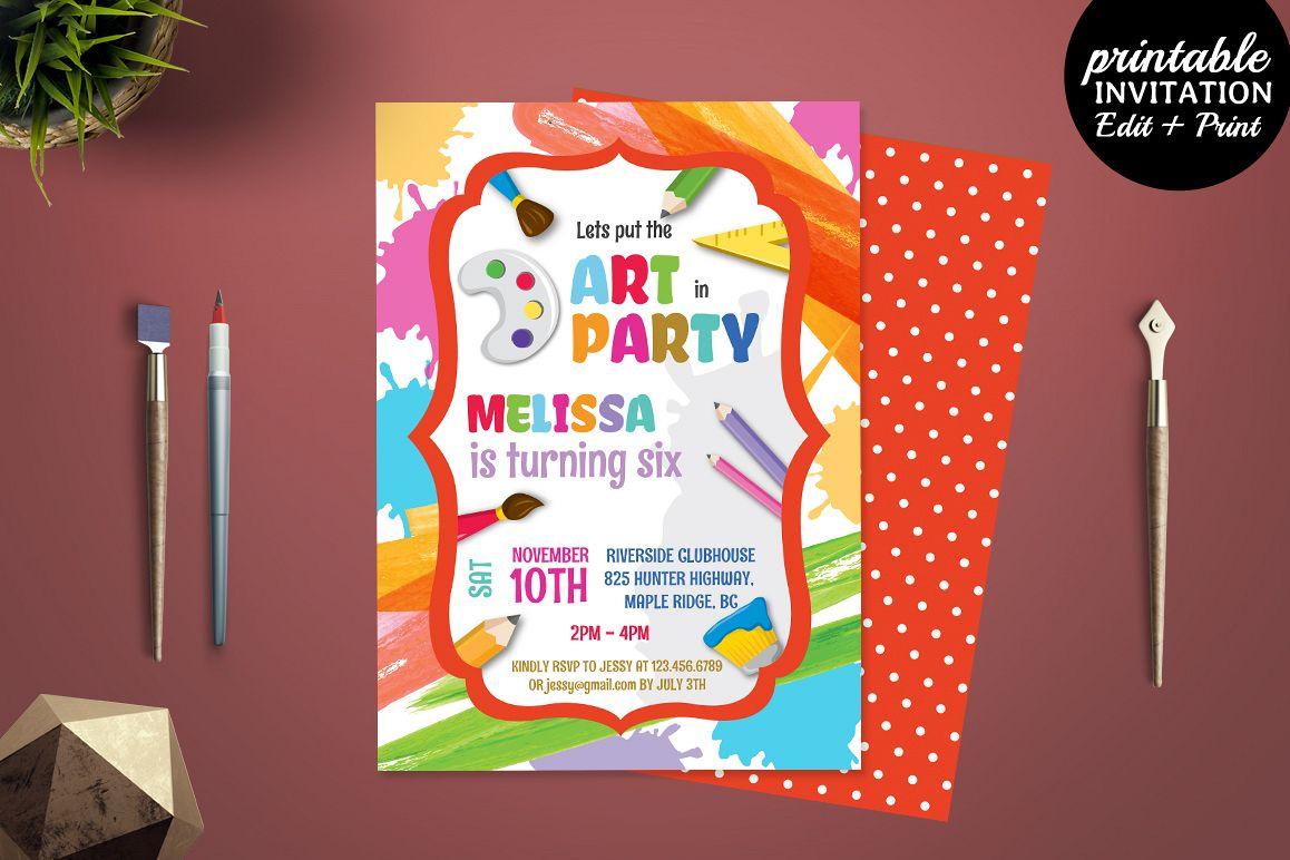 Printable Birthday Stationery Paper ~ Printable art party invitation templa design bundles