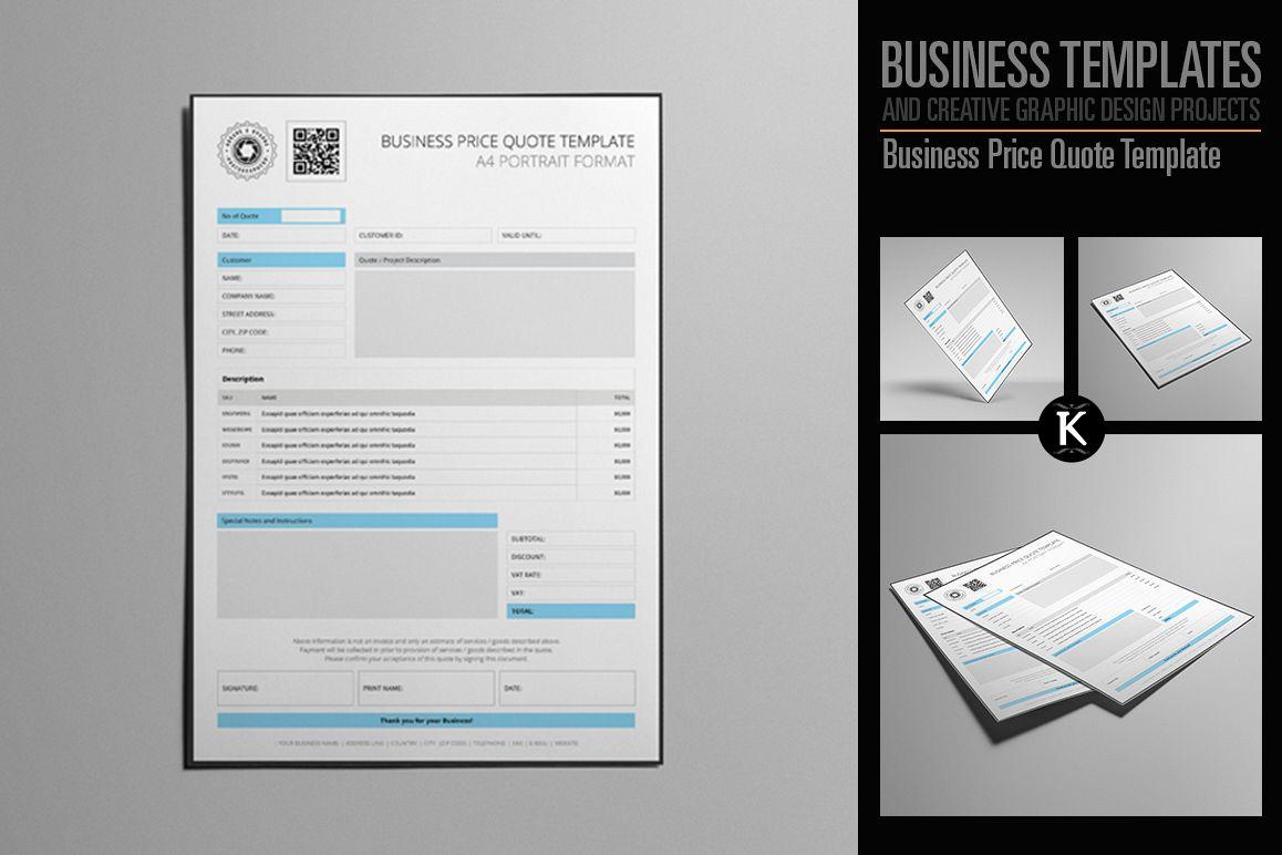 Biz Price Quote A4 Template by Keboto | Design Bundles