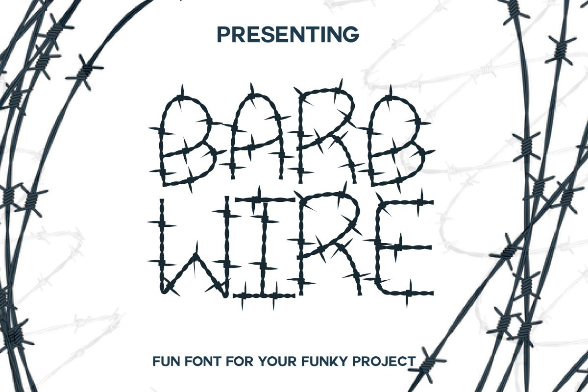 Barb Wire : A Fun Font For Projects by | Font Bundles