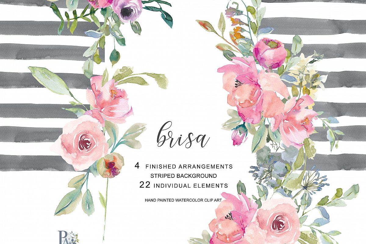 Hand painted watercolor blush pink flow design bundles hand painted watercolor blush pink flowers clip art bouquets separate elements and watercolor striped background mightylinksfo
