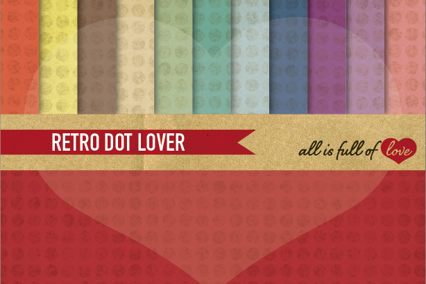 Rainbow Polka Dots Digital Paper Dotted Scrapbook Background Patterns example image