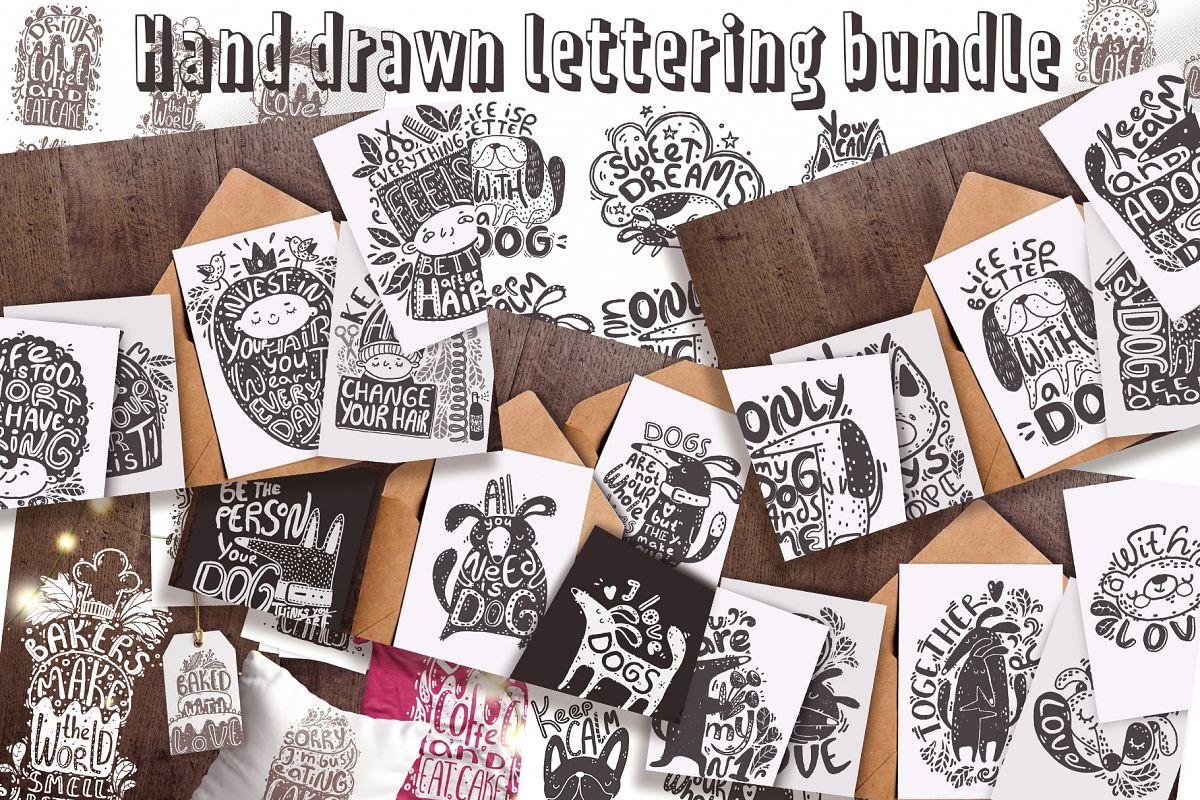 Hand drawn lettering bundle example image