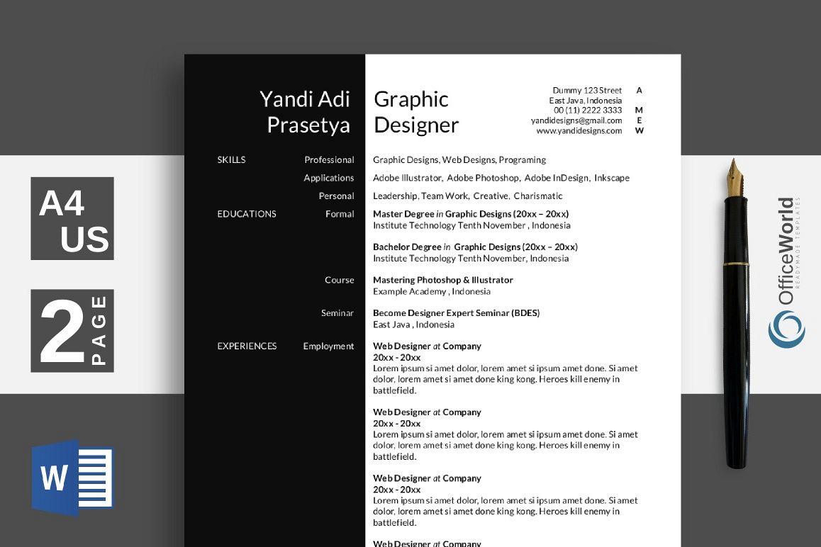 Black White Elegant Resume CV by Off Design Bundles