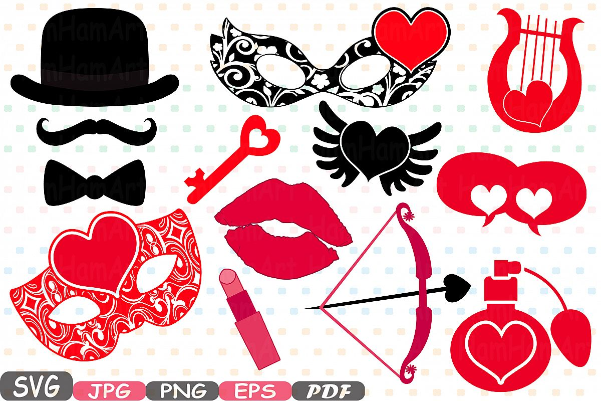 Top Props Valentine's Day Mask Silhouette C | Design Bundles VL49