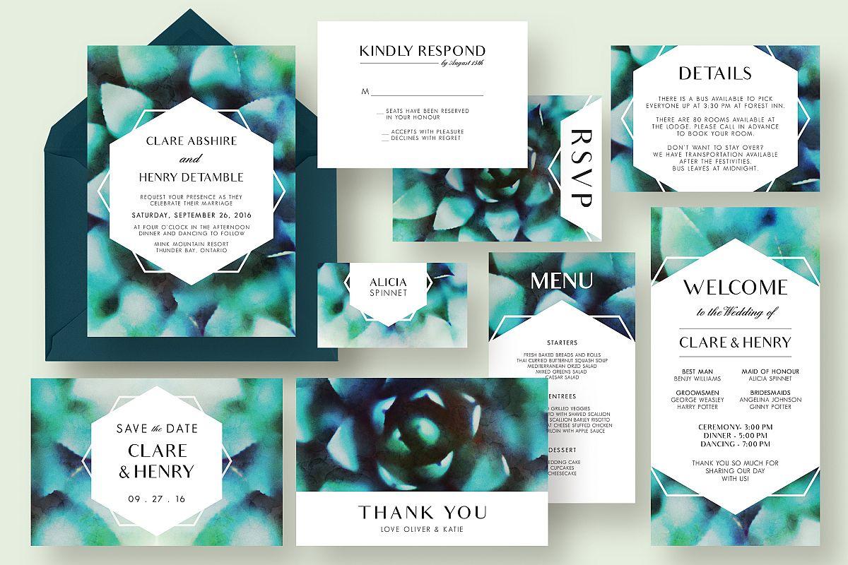 Succulent Wedding Invitation Suite by K | Design Bundles