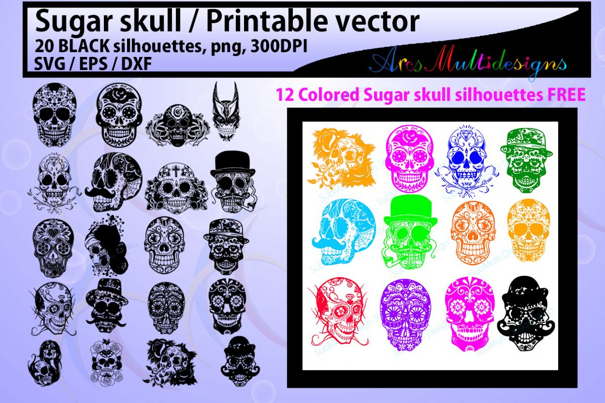 sugar skull silhouette / 20 sugar skull / sugar skull SVG / EPS /Dxf / vector skull / PNG /colored / Hq / colored skull / silhouette svg example image
