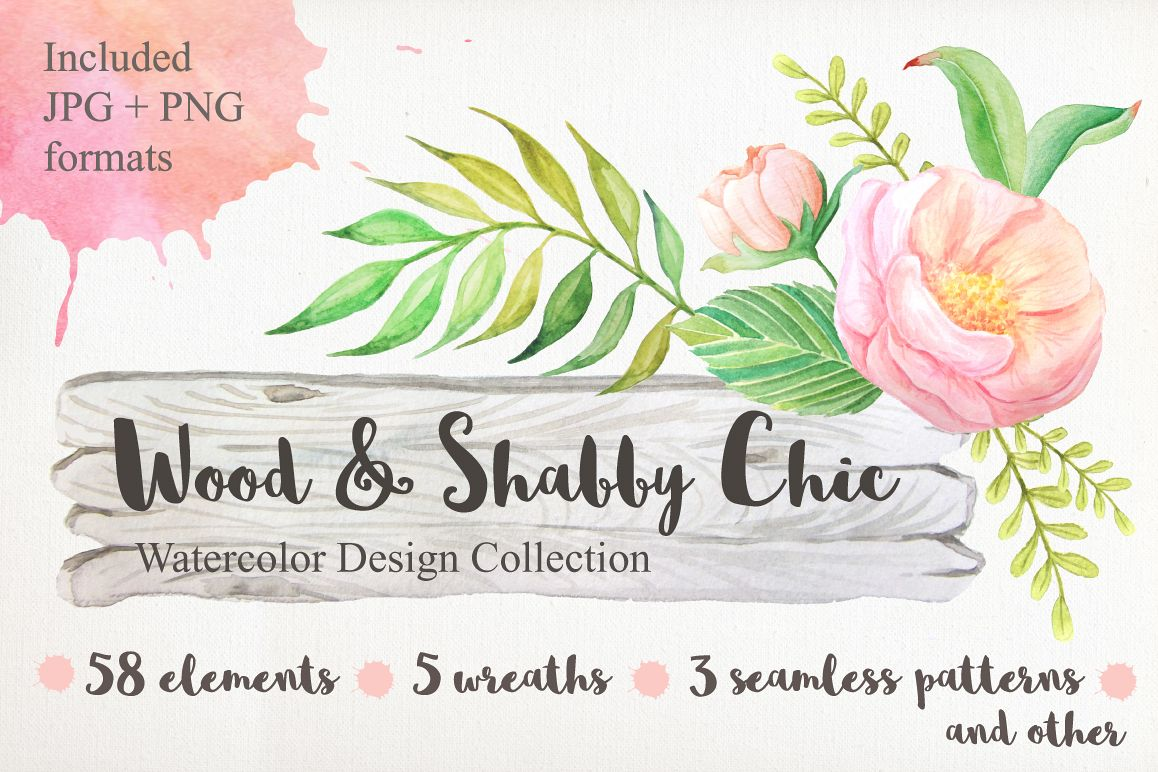 Shabby Chic Watercolor Pack by LarysaZa | Design Bundles