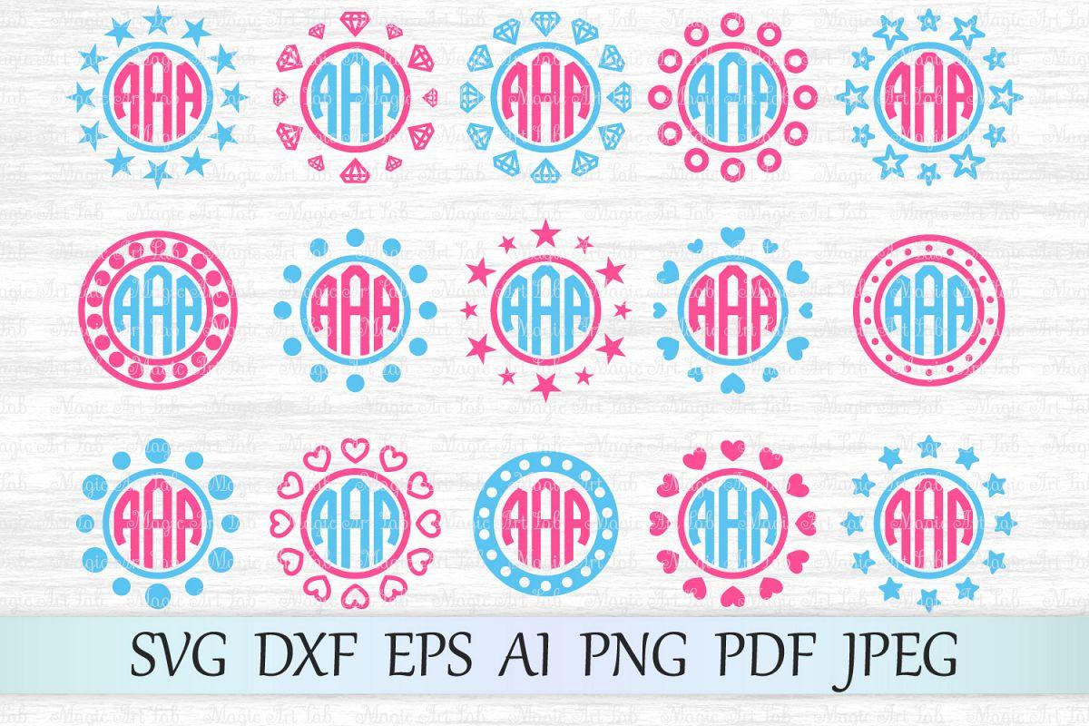 Monogram frames SVG, Circle monograms c | Design Bundles