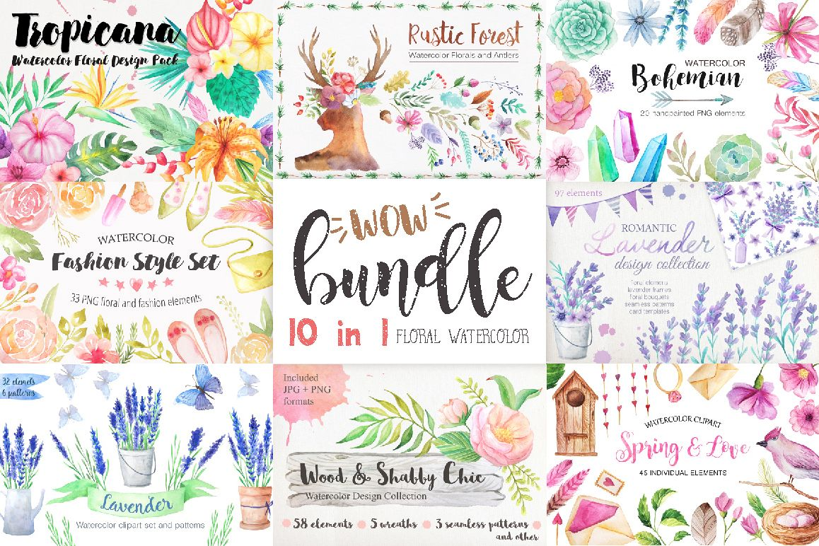 Summer Watercolor Floral BUNDLE example image